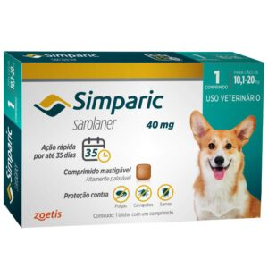 Antipulgas Simparic 40 mg para caes 101 a 20 kg Zoetis