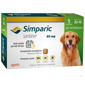 Antipulgas Simparic 80 mg para caes 201 a 40 kg Zoetis