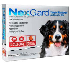 Antipulgas e Carrapatos NexGard para Caes de 251 a 50kg 3 tablete