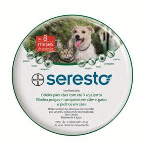 Coleira Antipulgas e Carrapatos Bayer Seresto para Caes e Gatos ate 8 Kg